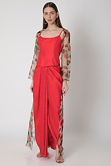 Red Embroidered Top With Draped Skirt & Printed Cape by Masaba X Rhea Kapoor