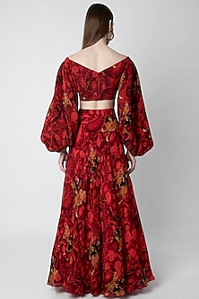 Red Printed Blouse WIth Lehenga Skirt by Masaba