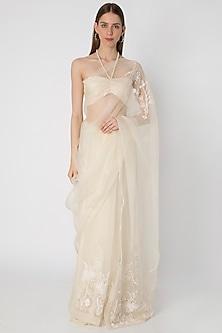 Ivory Embroidered Saree Set by Masaba X Rhea Kapoor