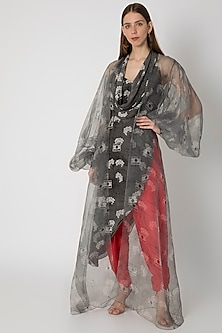 Grey Printed Cowl Top With Cape & Red Dhoti Pants by Masaba X Rhea Kapoor