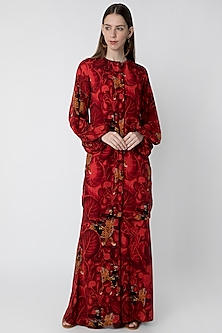 Red Printed Tunic With Pants by Masaba