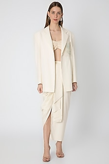 Ivory Embroidered Blazer With Draped Skirt & Cape by Masaba X Rhea Kapoor