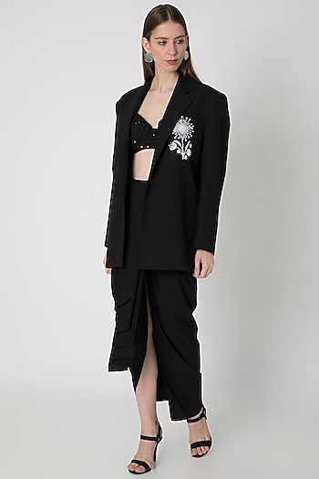 Black Embroidered Blazer With Bustier & Draped Skirt by Masaba X Rhea Kapoor
