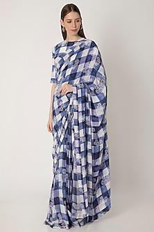 Blue Checkered Printed Saree Set by Masaba X Rhea Kapoor