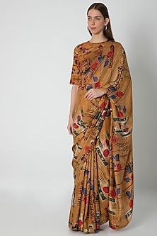 Brown Printed Saree Set by Masaba X Rhea Kapoor