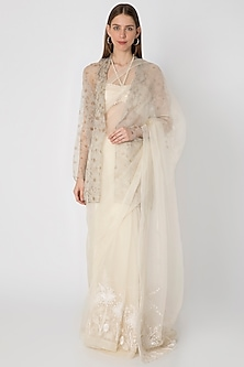 Ivory Embroidered Saree Set With Printed Jacket by Masaba X Rhea Kapoor