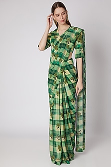 Green Digital Printed Checkered Saree Set by Masaba X Rhea Kapoor