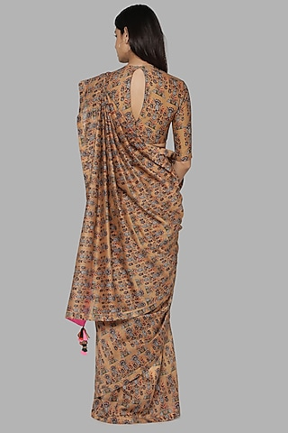 Beige Printed Saree Set by Masaba