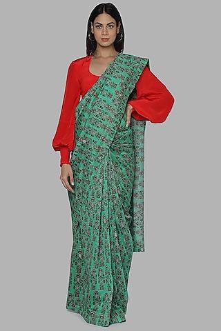 Green & Red Printed Saree by Masaba