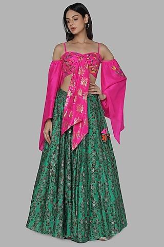 Pink & Green Lehenga Set by Masaba