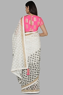 White & Black Foil Printed Saree Set by Masaba