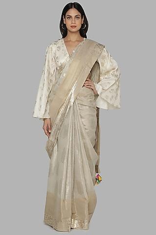 Ivory Printed Banarasi Saree Set by Masaba