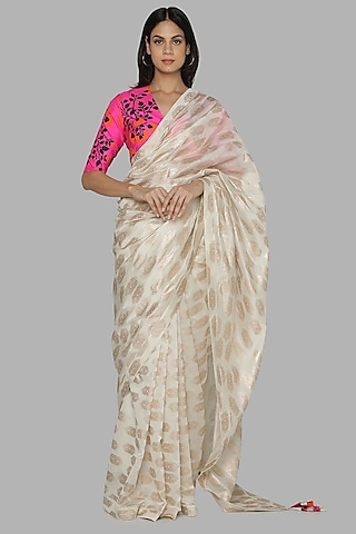 Ivory & Hot Pink Printed Saree Set by Masaba