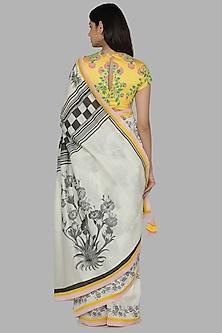 Ivory & Yellow Printed Saree Set by Masaba