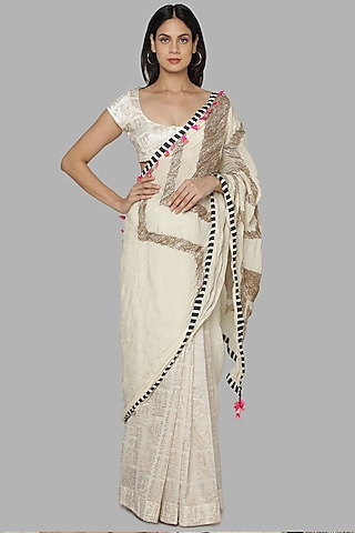 Ivory Embroidered Saree Set by Masaba