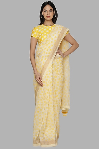 Ivory & Yellow Banarasi Saree Set by Masaba