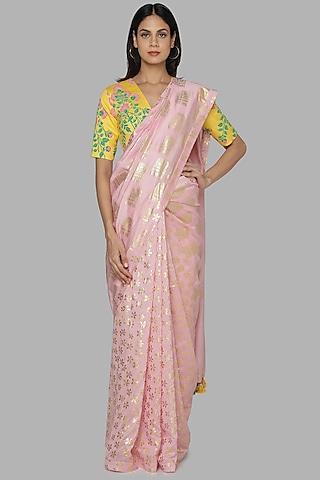 Pink & Yellow Printed Saree Set by Masaba