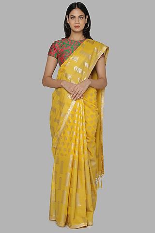 Yellow & Green Banarasi Saree Set by Masaba