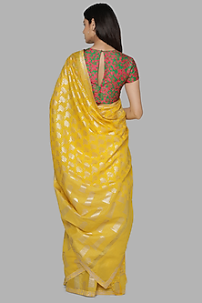 Yellow & Green Banarasi Saree Set by Masaba