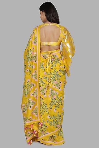 Yellow Printed Saree Set by Masaba