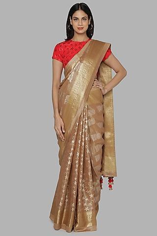 Brown & Red Banarasi Saree Set by Masaba