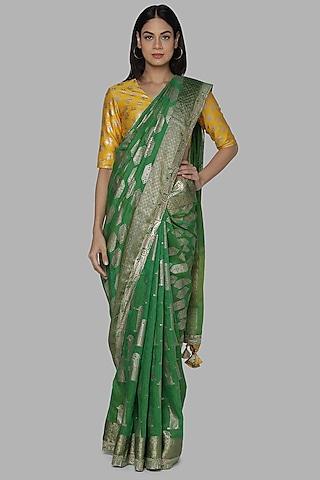 Green & Yellow Banarasi Saree Set by Masaba