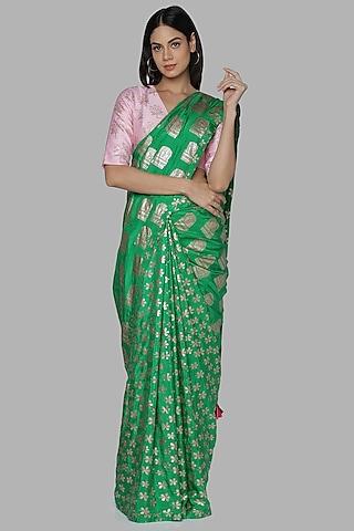 Green & Pink Printed Saree Set by Masaba