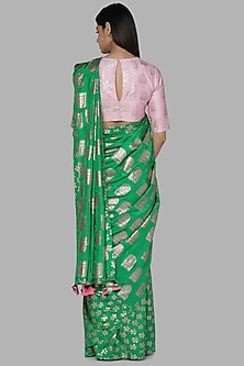Green & Pink Printed Saree Set by Masaba