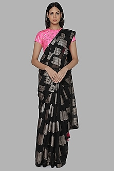 Black & Pink Printed Saree Set by Masaba