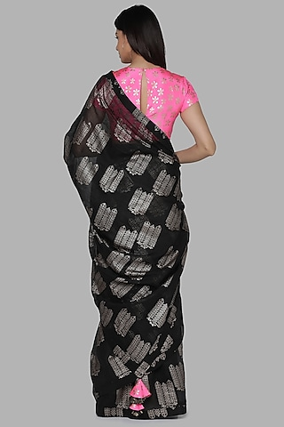 Black & Pink Printed Saree Set by Masaba