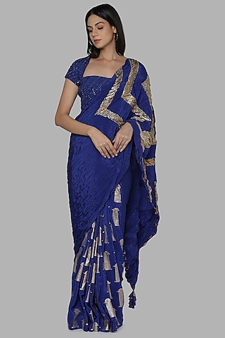 Blue Embroidered Saree Set by Masaba