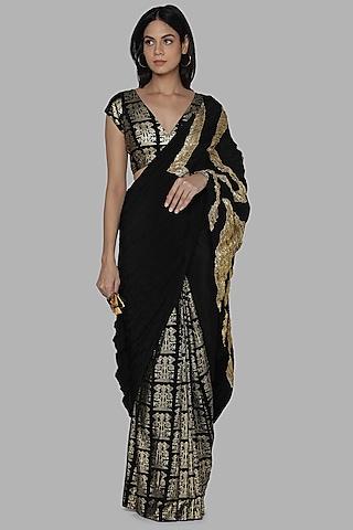 Black Embroidered Saree Set by Masaba