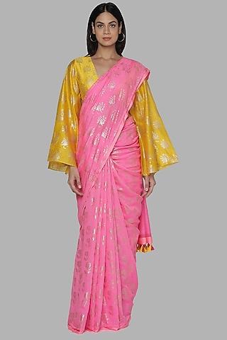 Pink & Yellow Banarasi Printed Saree by Masaba
