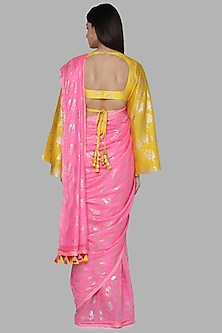 Pink & Yellow Banarasi Printed Saree by Masaba