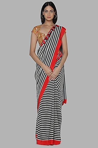 Black & White Printed Saree Set by Masaba