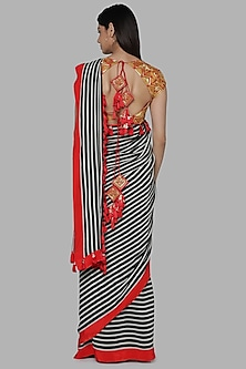 Black & White Printed Saree Set by Masaba