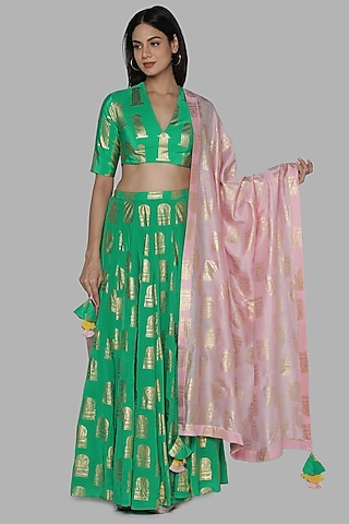 Green Printed Lehenga Set by Masaba