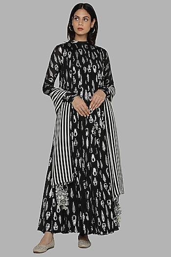 Black Printed Anarkali Set by Masaba
