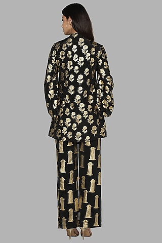 Black Printed Tunic Set by Masaba