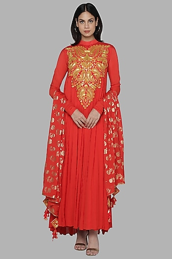 Red Embroidered Anarkali Set by Masaba