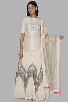 Ivory Embroidered Lehenga Set by Masaba