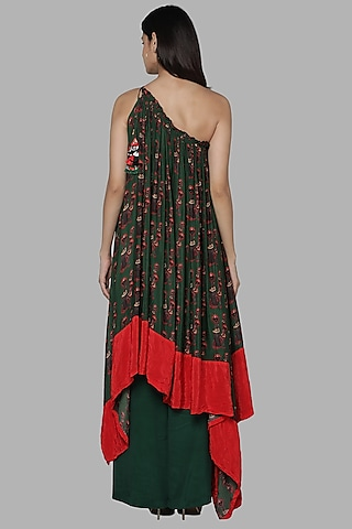 Green Printed One Shoulder Tunic Set by Masaba