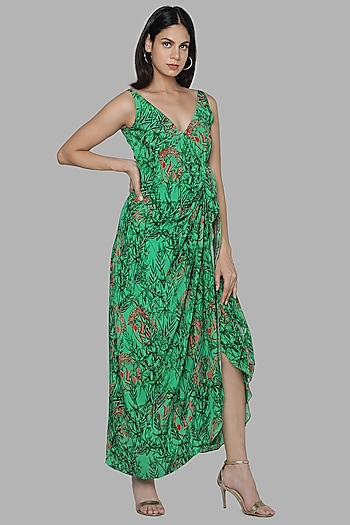 Green Printed Wrap Dress by Masaba
