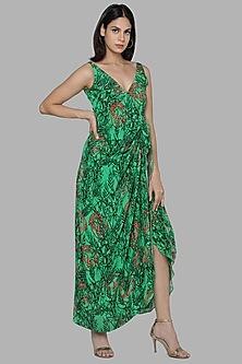 Green Printed Wrap Dress by Masaba