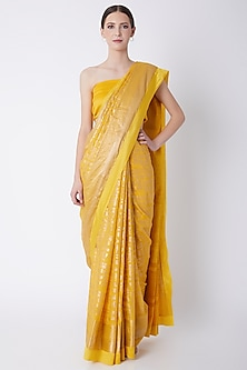 Yellow Foil Printed Saree Set by Masaba
