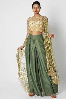 Gold Embroidered Crop Top With Olive Green Pants & Dupatta by Manishii
