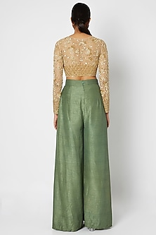 Gold Embroidered Crop Top With Olive Green Pants & Dupatta by Premya by Manishii