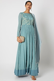 Sky Blue Embroidered Anarkali With Dupatta by Premya by Manishii