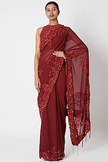 Maroon Embroidered Saree Set by Manishii