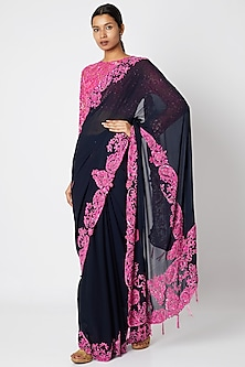 Midnight Blue & Fuchsia Embroidered Saree Set by Manishii